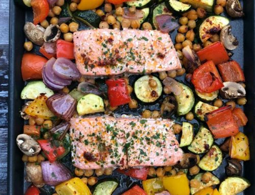 One Pan Salmon and Mediterranean Vegetables